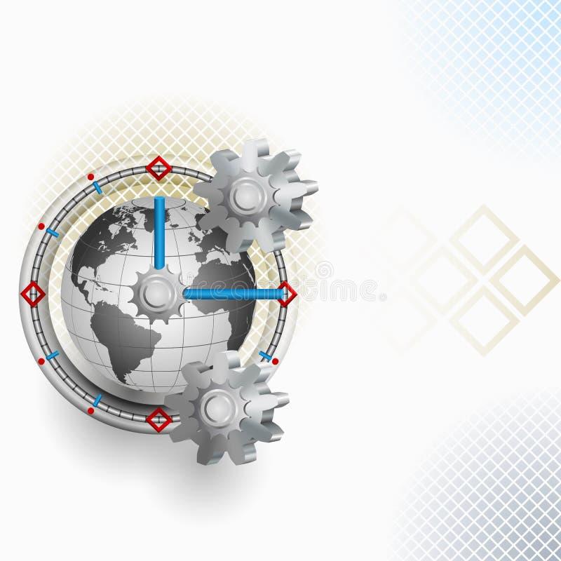 Arreglo abstracto con el engranaje y el reloj ilustración del vector
