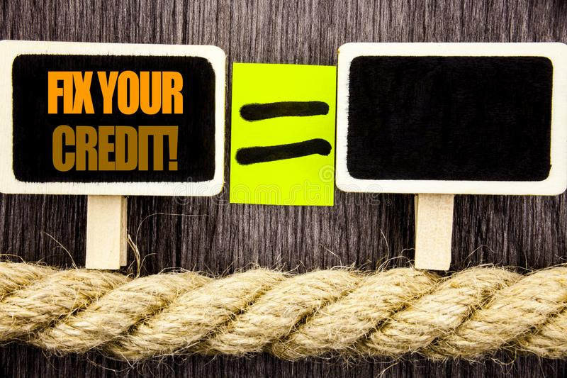 Arreglo de la demostración de Ttext su crédito Concepto del negocio para la mala cuenta que valora a Avice Fix Improvement Repair foto de archivo