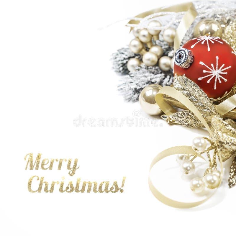 Arreglo de la Navidad en el fondo blanco imagen de archivo