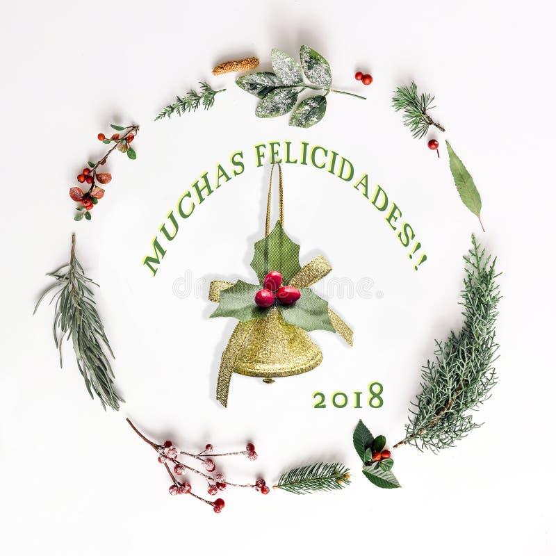 Arreglo de la Navidad para la decoración - tradicional: Feliz Navidad foto de archivo