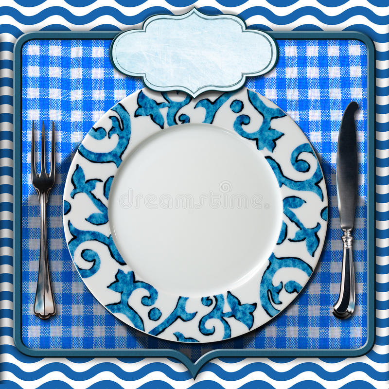 Arreglo de la tabla para el menú de los mariscos ilustración del vector