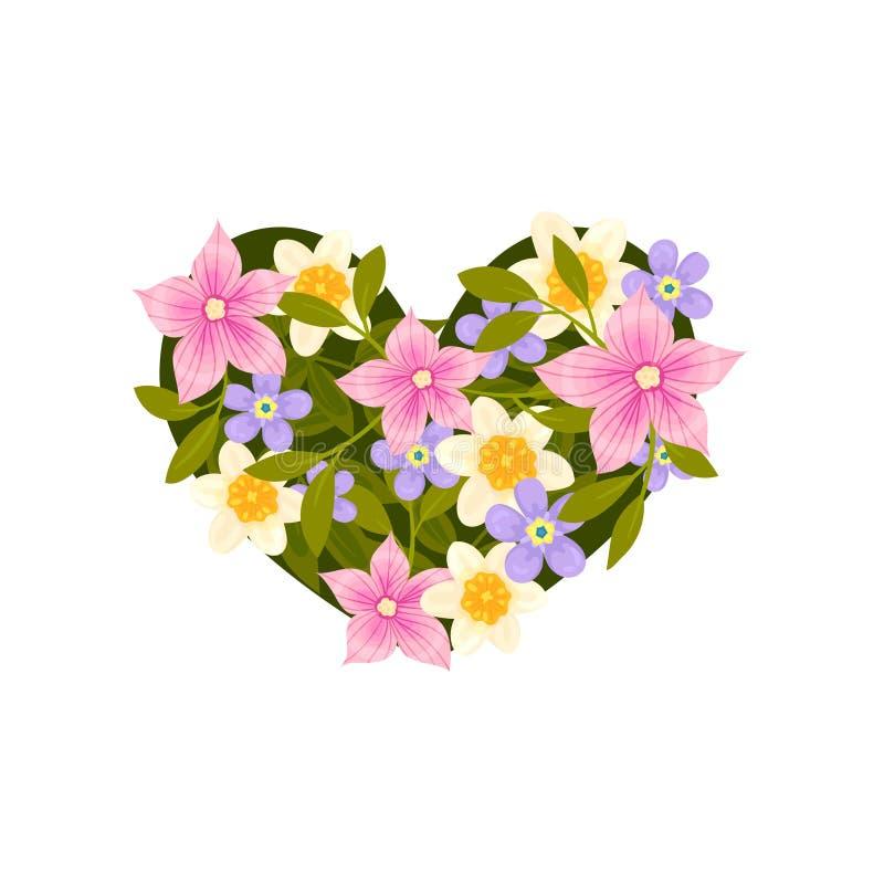 Arreglo en la forma de un corazón de las flores blancas, azules y rosadas Ilustraci?n del vector en el fondo blanco stock de ilustración