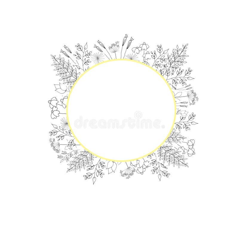 Arreglo floral de flores blancos y negros, enmarcado libre illustration