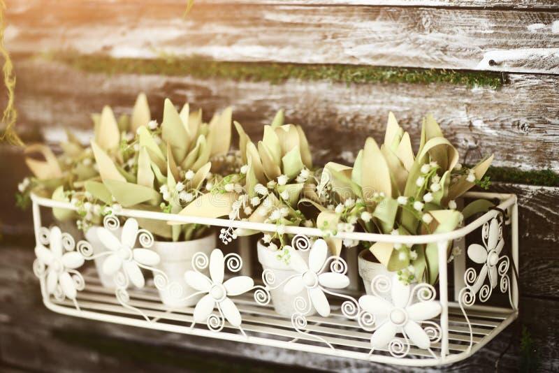 Arreglo floral de plantas en conserva y de flores artificiales fotografía de archivo