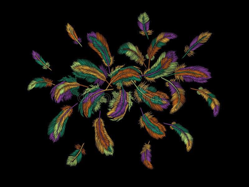 Arreglo redondo del bordado colorido de las plumas La obra clásica india del pájaro de la ropa tribal de Boho bordó el fondo ilustración del vector