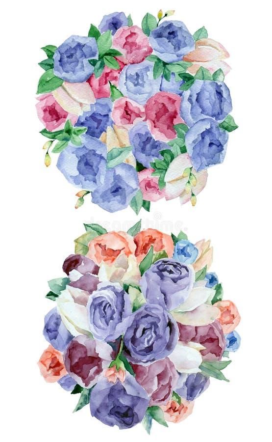 Arreglos florales de la acuarela ilustración del vector