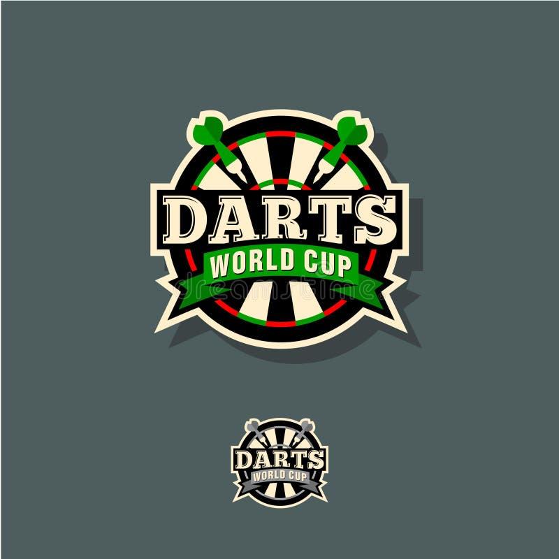 Arremessa o emblema do campeonato do mundo Alvo e setas em um círculo com as letras ilustração stock