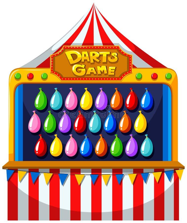Arremessa o jogo com os balões na parede ilustração royalty free