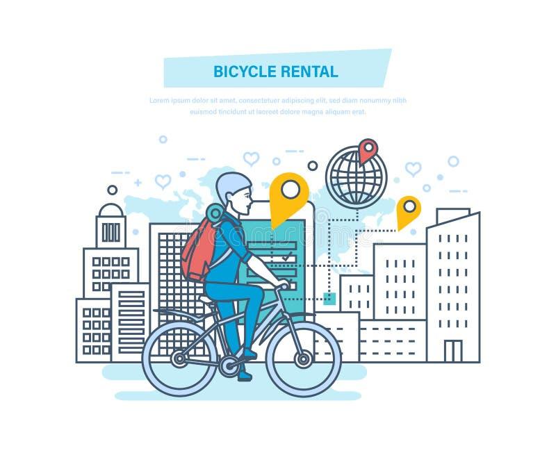 Arrendamento da bicicleta Aluguer da bicicleta da cidade que aluga para turistas, visitantes da cidade ilustração royalty free