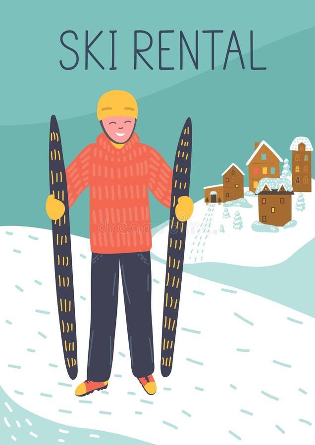 Arrendamento do esqui ilustração stock
