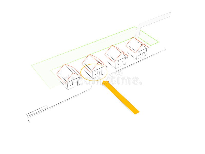 Arrendamentos da casa do esboço ilustração stock