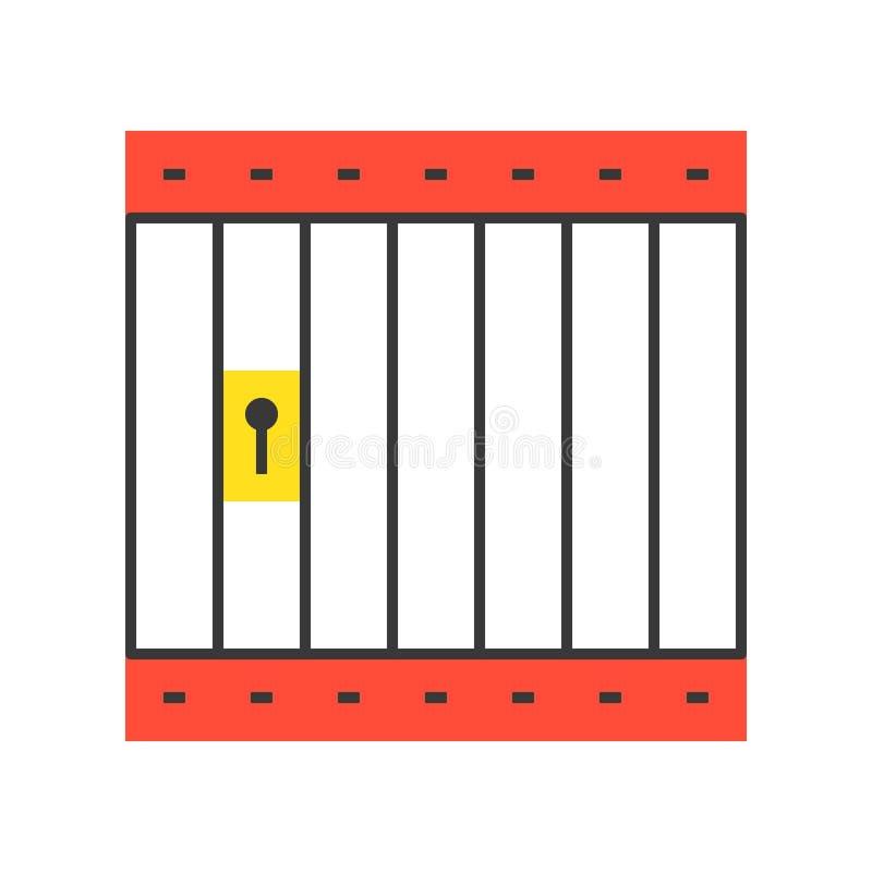 Arrest- eller fängelsecellen, den plana designen, den perfekta polisen för PIXEL gällde I stock illustrationer