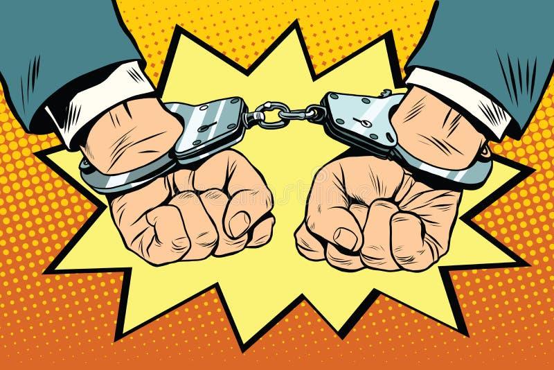 Arrest, hands cuffed. Pop art retro vector. Crime police criminal stock illustration