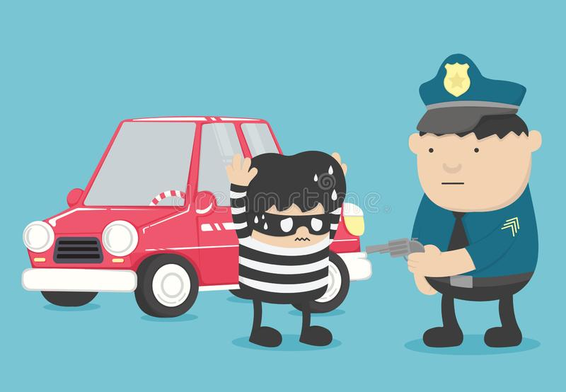 Arrest of police officers who are arrested car theft. Eps.10 royalty free illustration