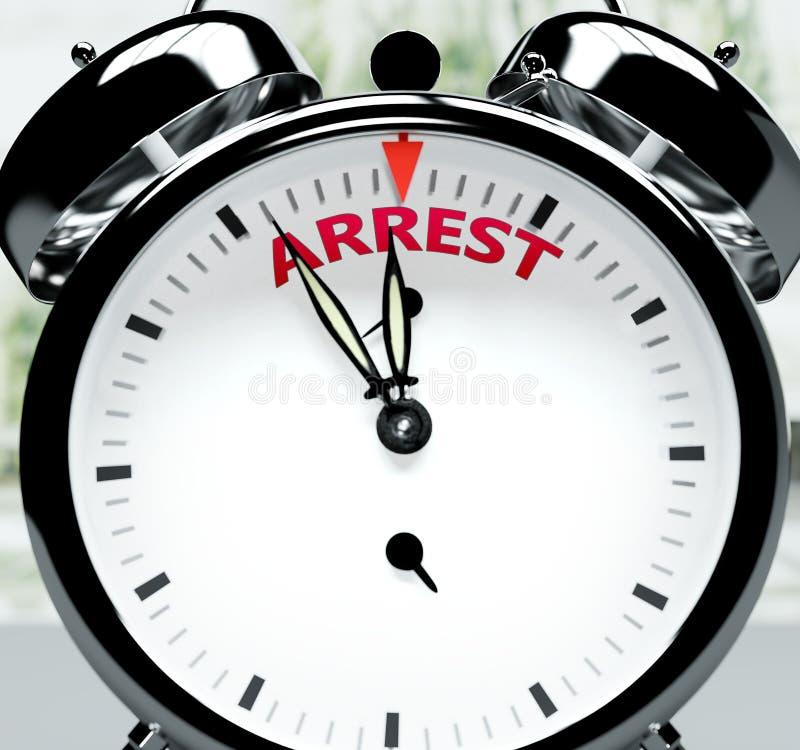 Arrestatie is al snel, bijna daar, in korte tijd - een klok symboliseert een herinnering dat arrestatie dichtbij is, zal gebeuren royalty-vrije illustratie