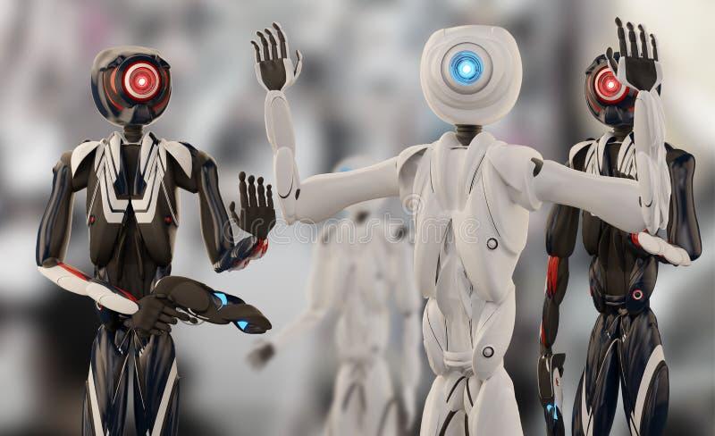 Arrestatie door de autonome robotpolitie 3d-illustratie stock illustratie
