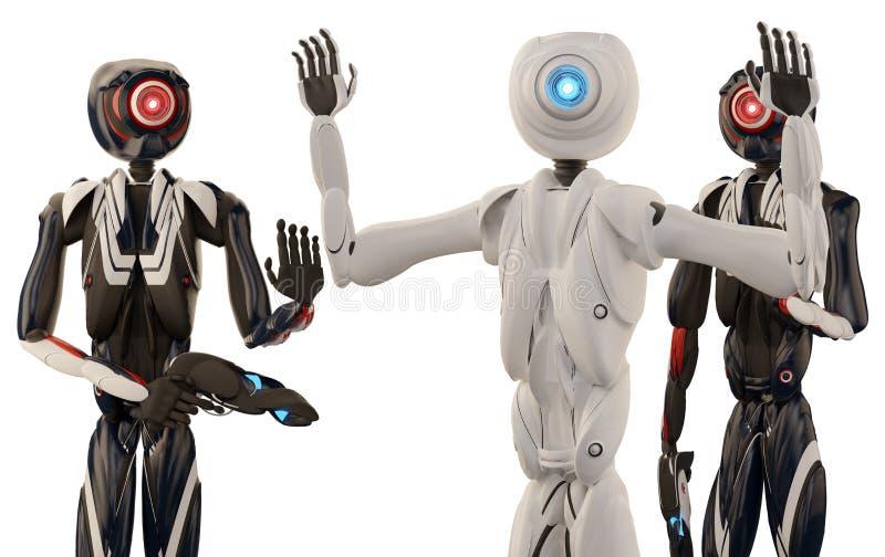 Arrestatie door de autonome robotpolitie vector illustratie