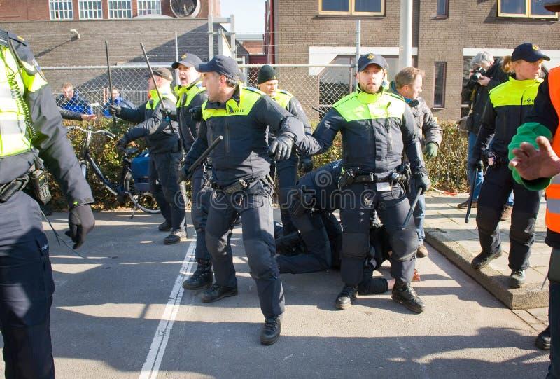 Arrestation par des policiers images stock