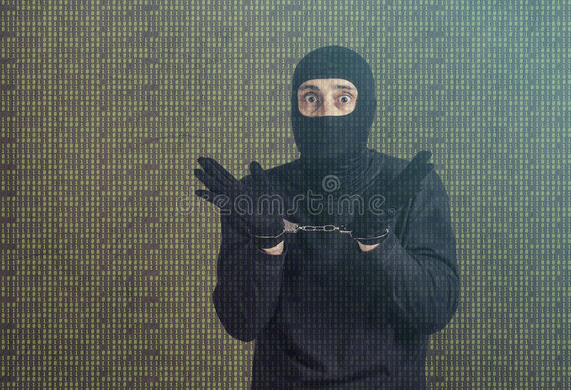 Arrested hacker royalty free stock image