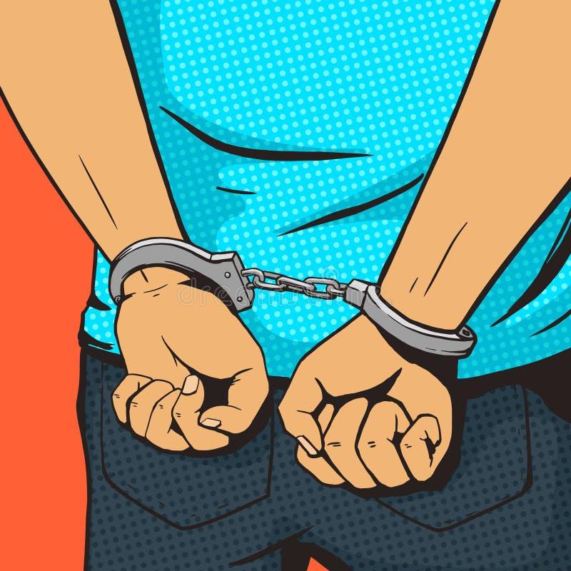 Arresterad man i vektor för stil för handbojapopkonst vektor illustrationer
