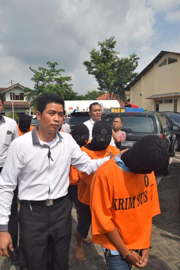 Arresti gli esecutori del tubo fraudolento di GPL 12 chilogrammi immagine stock