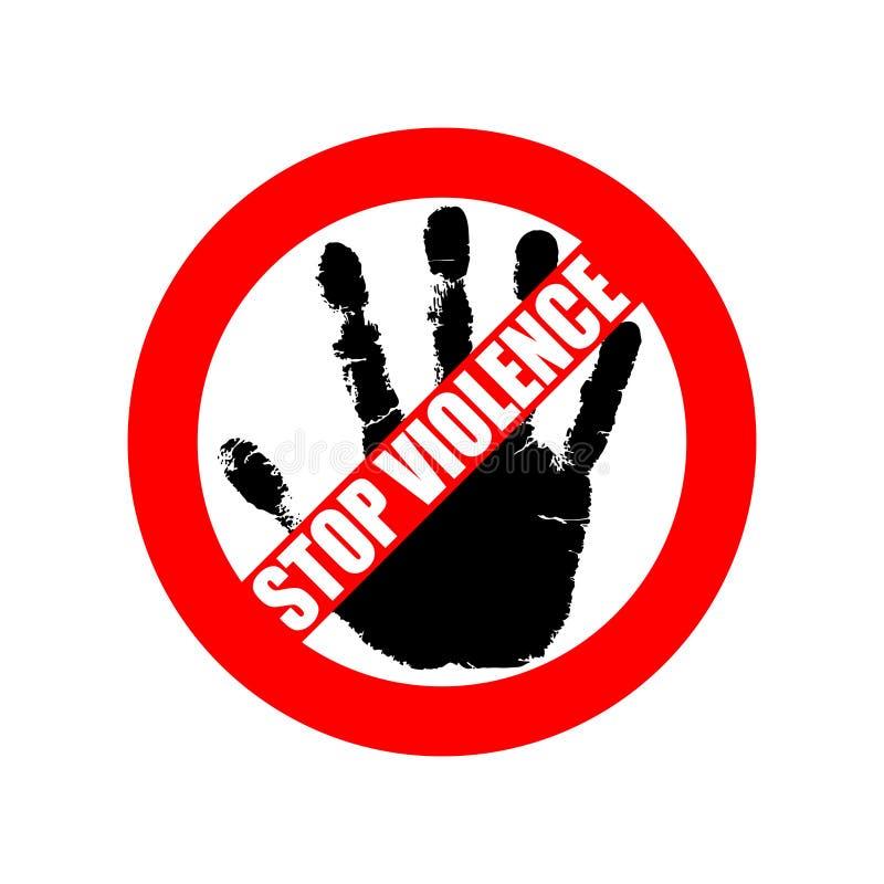 Arresti la violenza Violenza di proibizione del segno illustrazione di stock