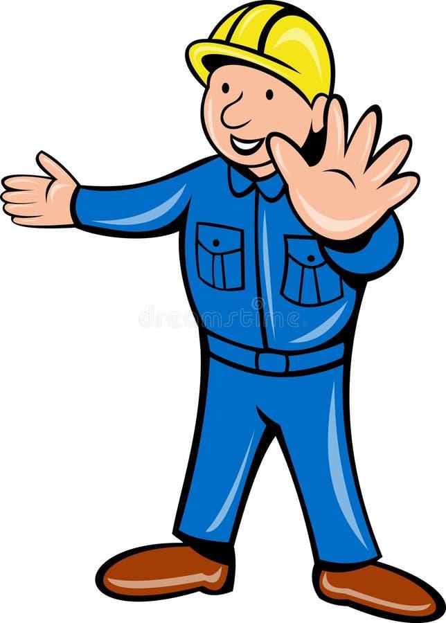 Arresto della mano dell'operaio di costruzione illustrazione vettoriale