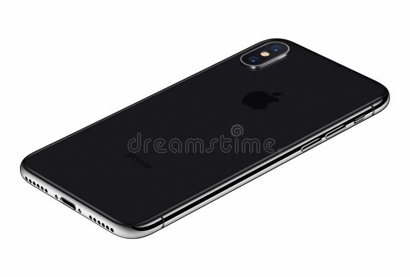 Arrière de l'iPhone X de Gray Apple de l'espace de vue de perspective d'isolement sur le fond blanc photos libres de droits