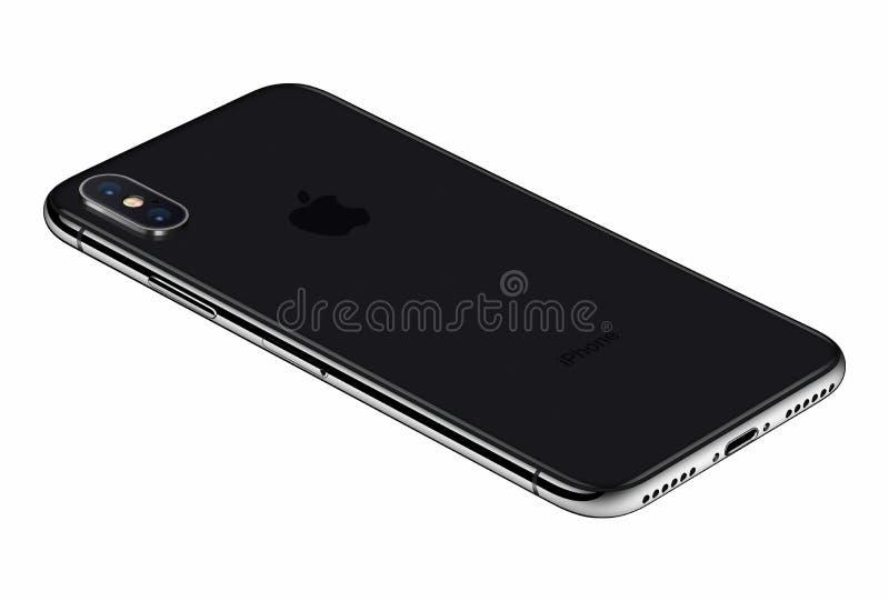 Arrière de l'iPhone X de Gray Apple de l'espace de vue de perspective d'isolement sur le fond blanc photo libre de droits