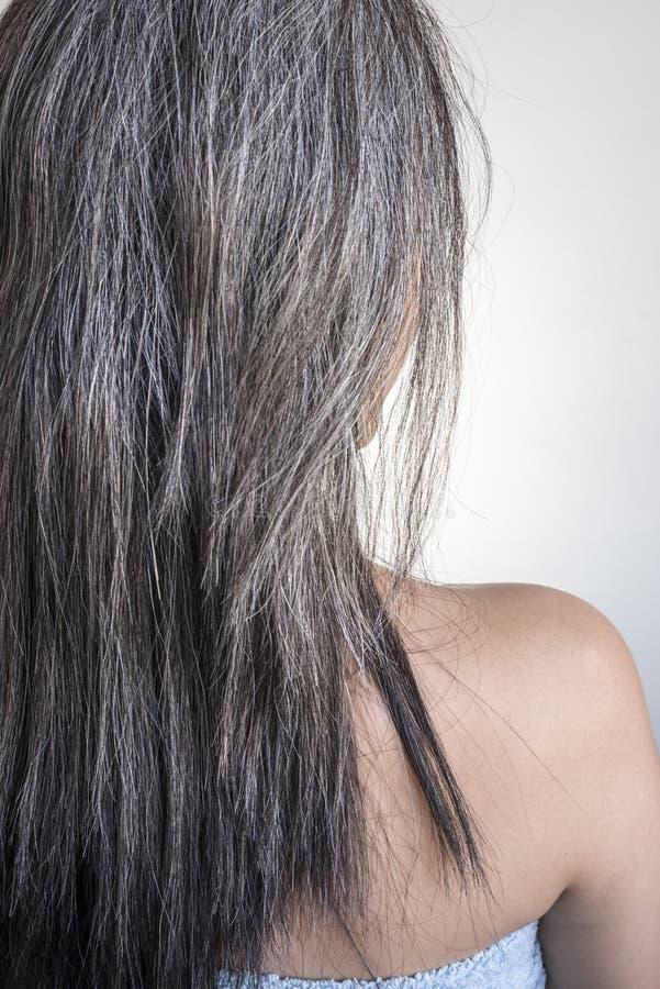 Arrière fragile et endommagé blanc de cheveux avec le foyer sélectif photos libres de droits