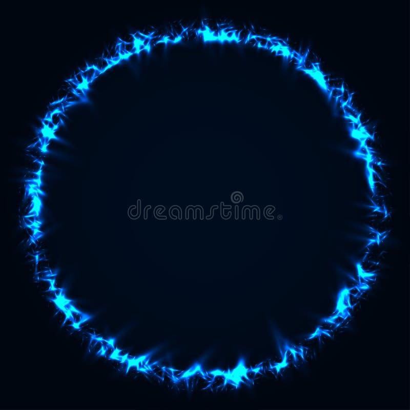 Arrière-plan abstrait de l'étirement Cercles lumineux bleus Cercle brillant azur Arrondissement lumineux d'Indigo Particules étin illustration libre de droits