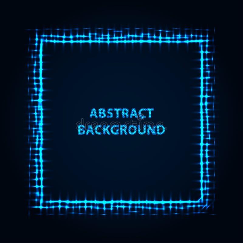Arrière-plan abstrait de l'étirement Lignes lumineuses bleues Bord brillant azur Frontière lumineuse de l'Indigo Particules étinc illustration stock