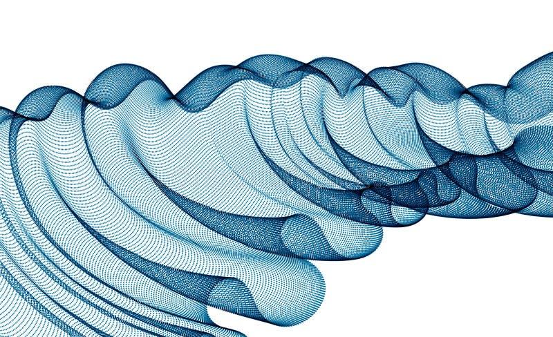 Arrière-plan abstrait vectoriel avec vague de particules en mouvement, lignes de forme de courbe lisse, textile de tulle transpar illustration stock
