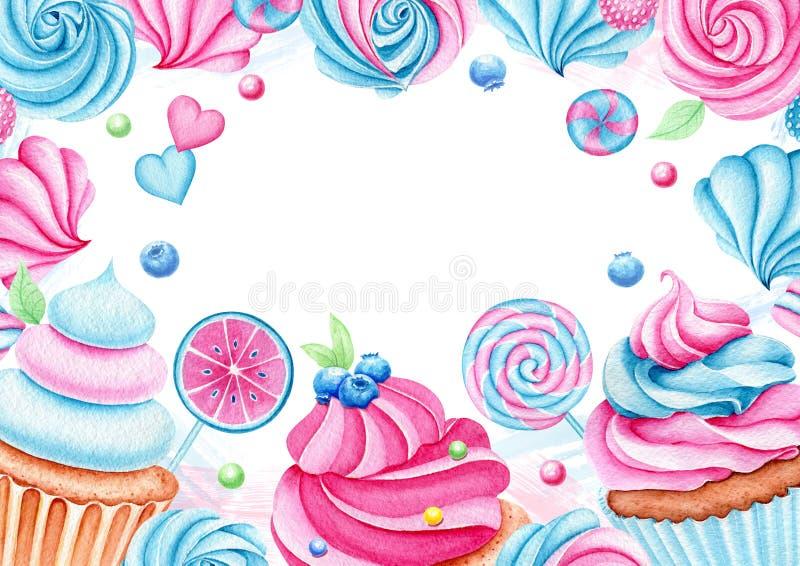 Arrière-plan avec bonbons d'aquarelle, cupcake, sucré Banderole pour anniversaire, carte de voeux Dessert pour les vacances illustration libre de droits