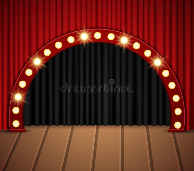 Arrière-plan avec rideau noir et rouge sur parquet photographie stock libre de droits