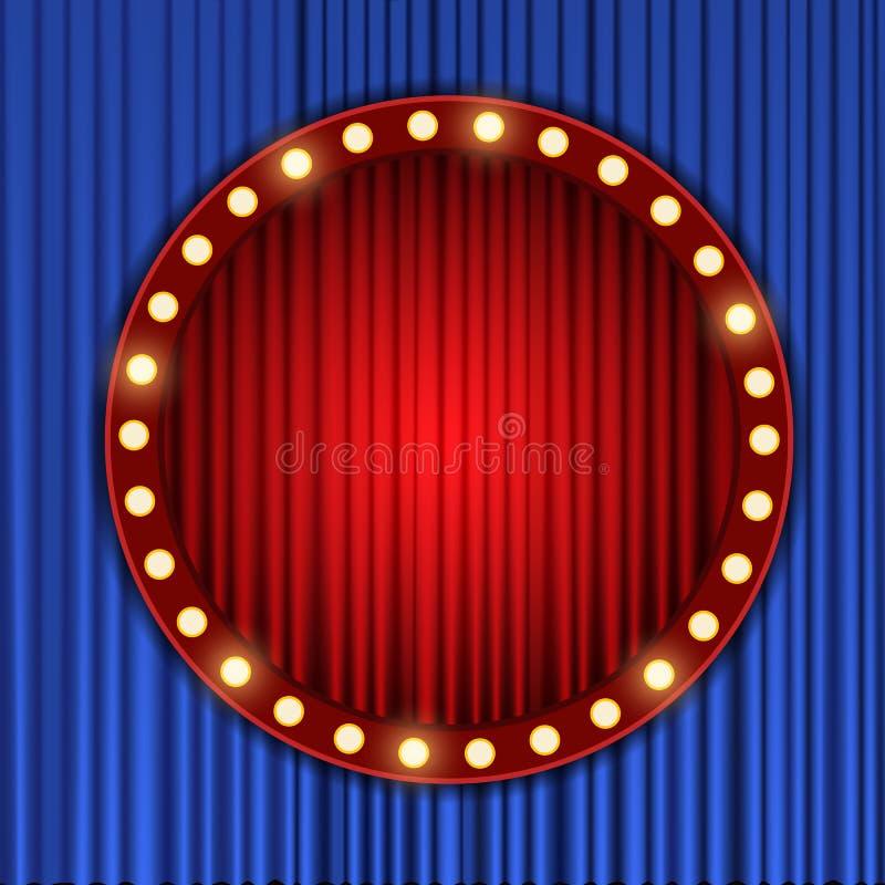 Arrière-plan avec rideau rouge et bleu Conception pour la présentation, le concert, le spectacle images libres de droits