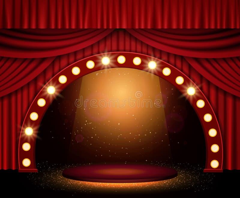 Arrière-plan avec rideau rouge et projecteurs Conception pour la présentation, le concert, le spectacle images libres de droits