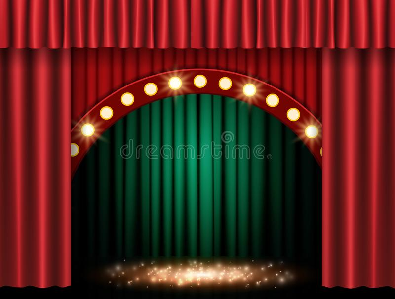Arrière-plan avec rideau vert et rouge en arc photographie stock