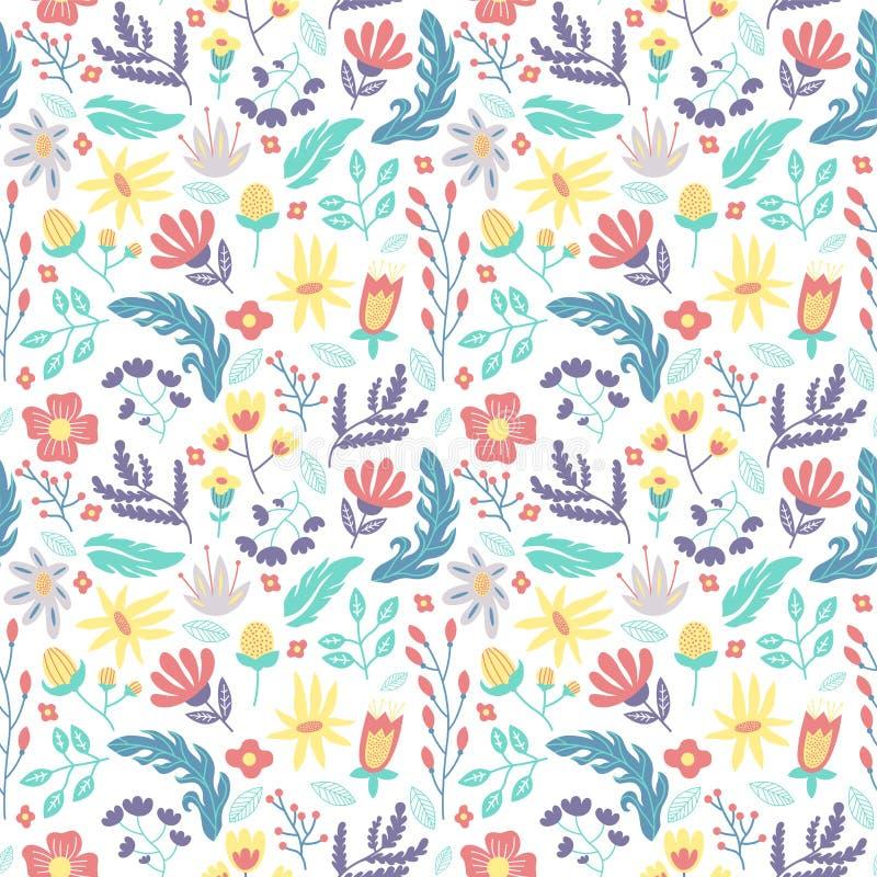 Arrière-plan coloré de motifs transparents de fleurs et de feuilles isolé en blanc image stock