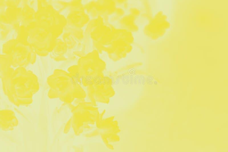 Arrière-plan de dégradé abstrait jaune avec motif de fleurs photo stock