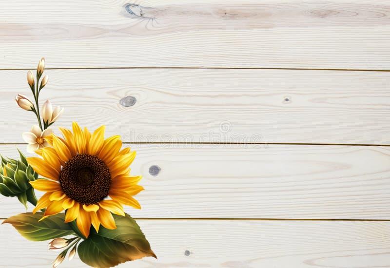 Arrière-plan de l'automne du tournesol et du bois images libres de droits