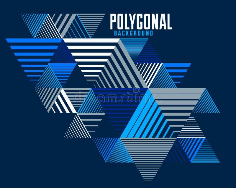 Arrière-plan en 3D, en relief vectoriel strié linéaire avec élément graphique de style rétro isolé avec cubes et triangles illustration de vecteur