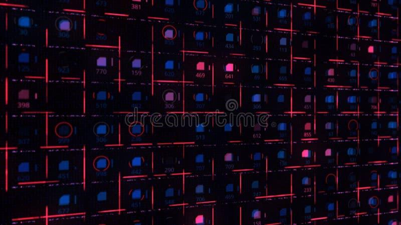 Arrière-plan futuriste des signaux circulant sur les circuits bleus et rouges Animation Circuit Board avec flammes illustration de vecteur
