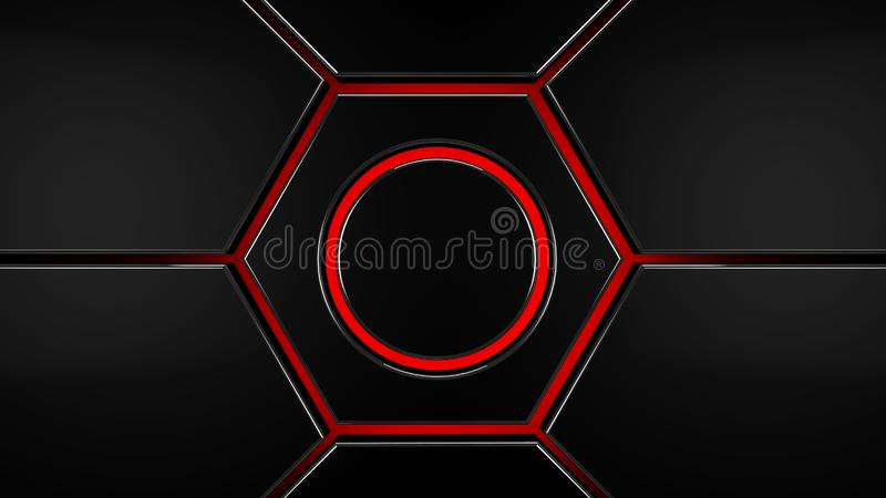 Arrière-plan moderne futuriste gris-hexagone rouge, rendu 3d illustration stock