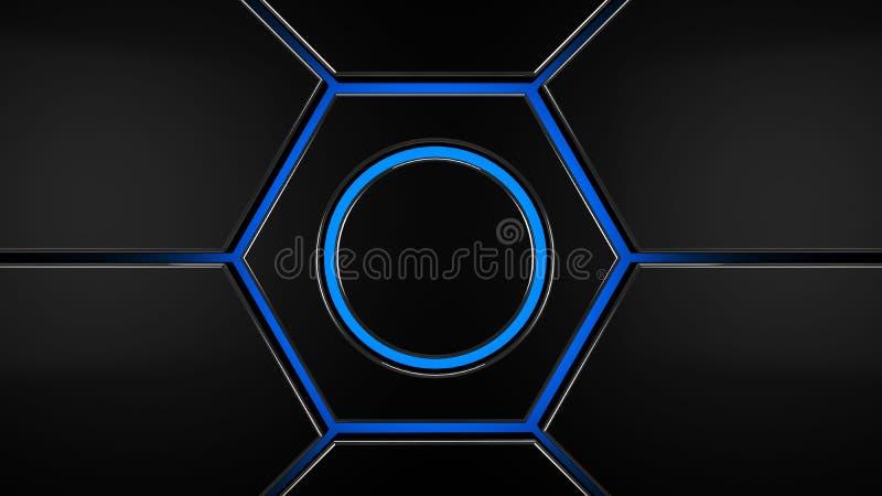 Arrière-plan moderne futuriste hexagone gris et bleu, rendu 3d illustration stock