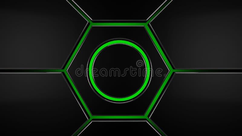 Arrière-plan moderne futuriste hexagone gris et vert, rendu 3d illustration de vecteur