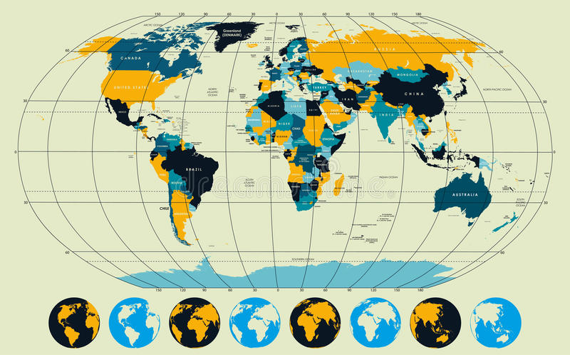 Arriba detallado, mapa del mundo con meridianos y paralelos foto de archivo
