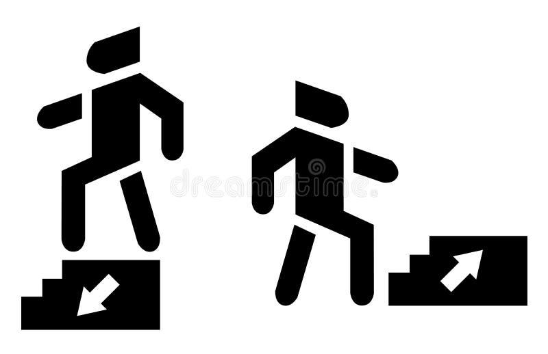Arriba y abajo de flecha Utilice el icono del fondo de la escalera stock de ilustración