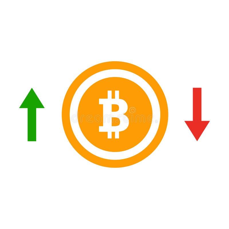 Arriba y abajo de icono plano del curso del bitcoin de las flechas Concepto de insignia simple del bitcoin ilustración del vector