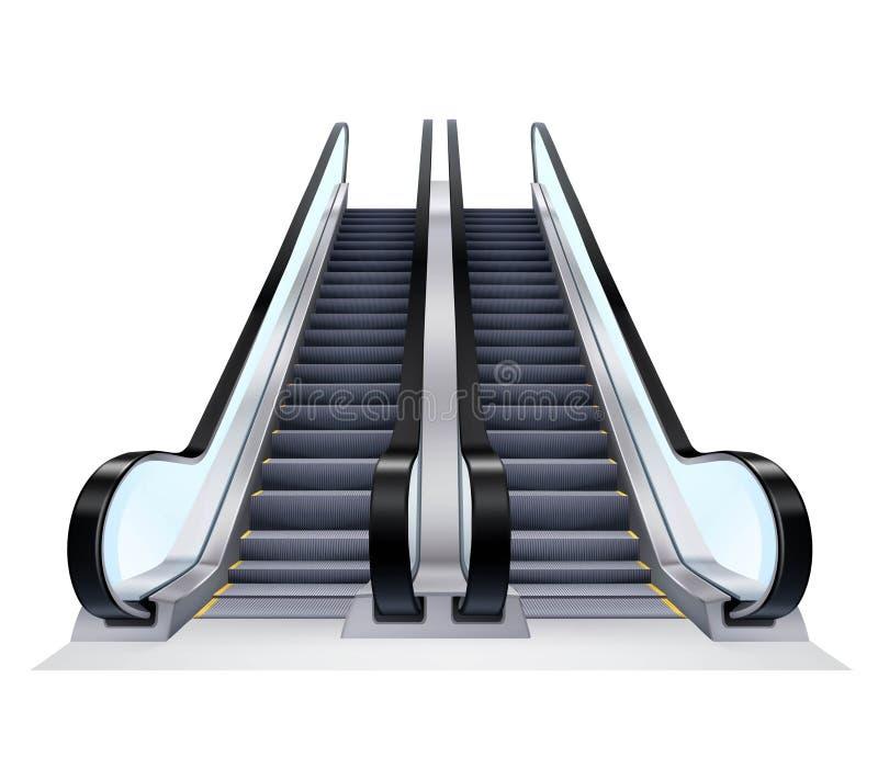 Arriba y abajo de las escaleras móviles fijadas ilustración del vector
